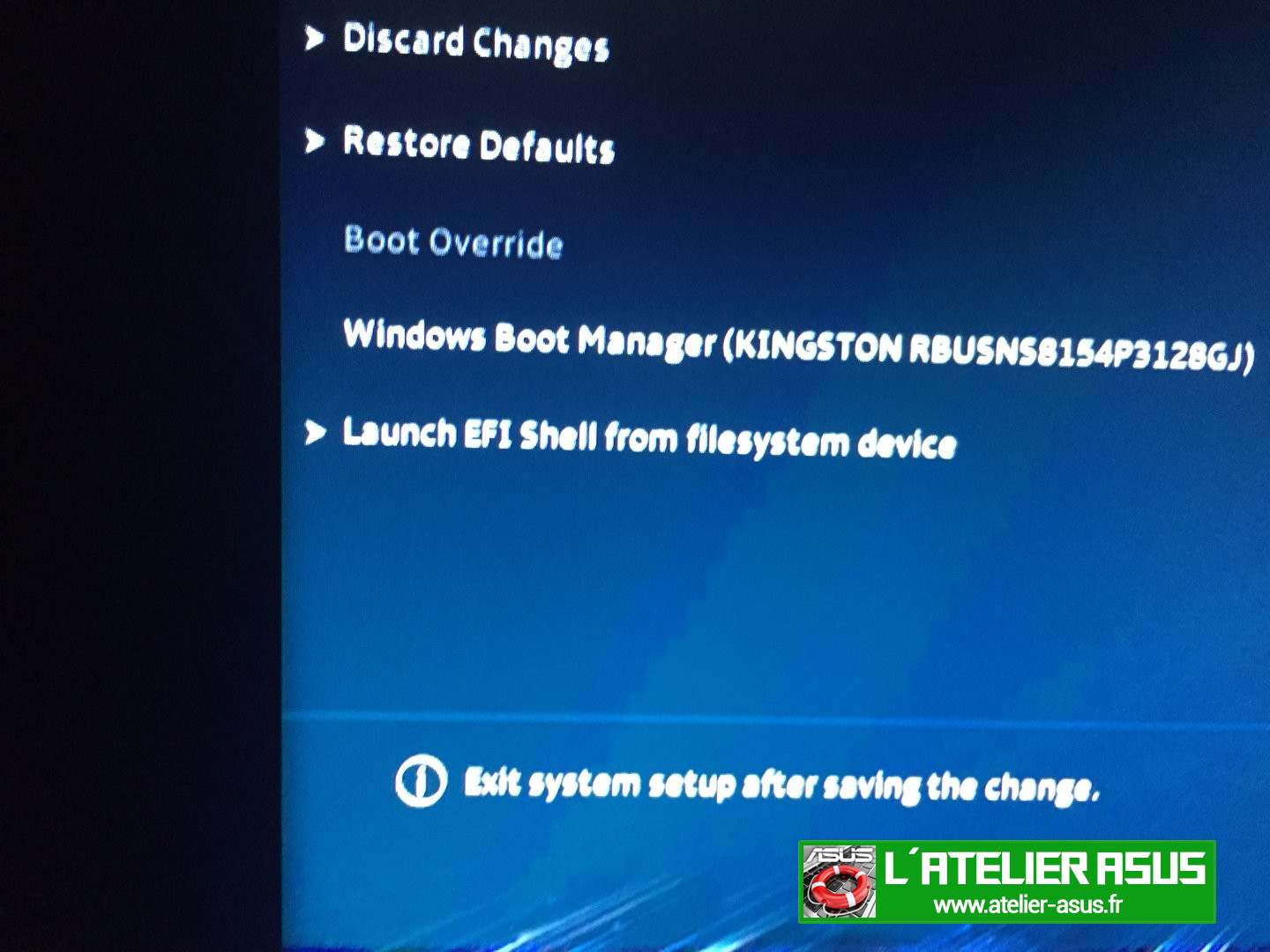 Launch EFI Shell from filesysteme device ?Quoi?? | L'atelier ASUS